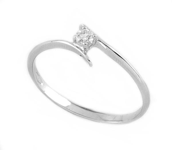 joli design mignon pas cher livraison gratuite Anello oro bianco con diamante S252